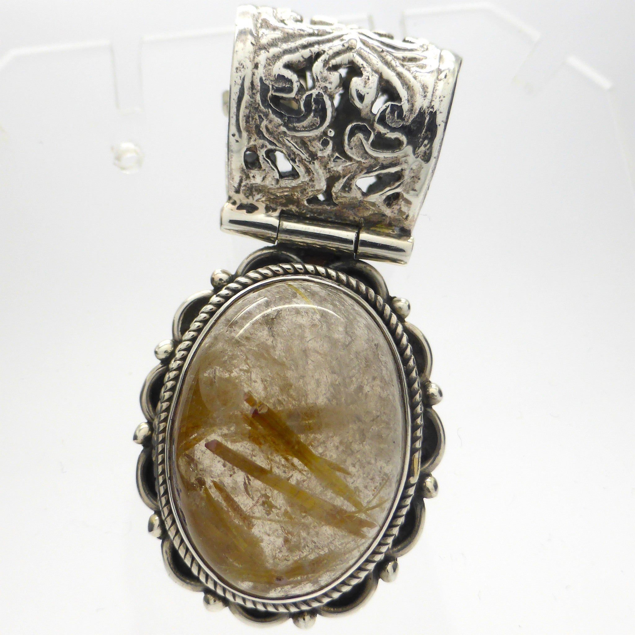 Genuine Rutilated Quartz Pendant | 925 Sterling Silver | Golden Rutile in Clear Quartz | Crown Chakra | New Directions | Prosperity | Crystal Heart  Australia since 1986