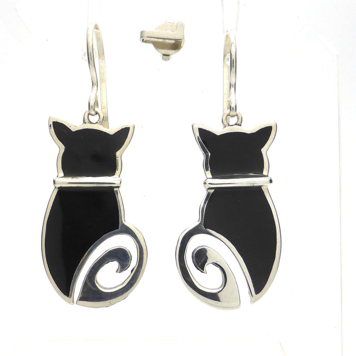 Earring Black Onyx Cat | 925 Sterling Silver | Authentic Stones | Crystal Heart Melbourne Australia since 1986