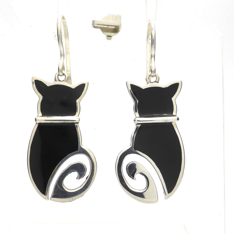 Black Onyx Cat Earring and Pendant, 925 Silver, kt