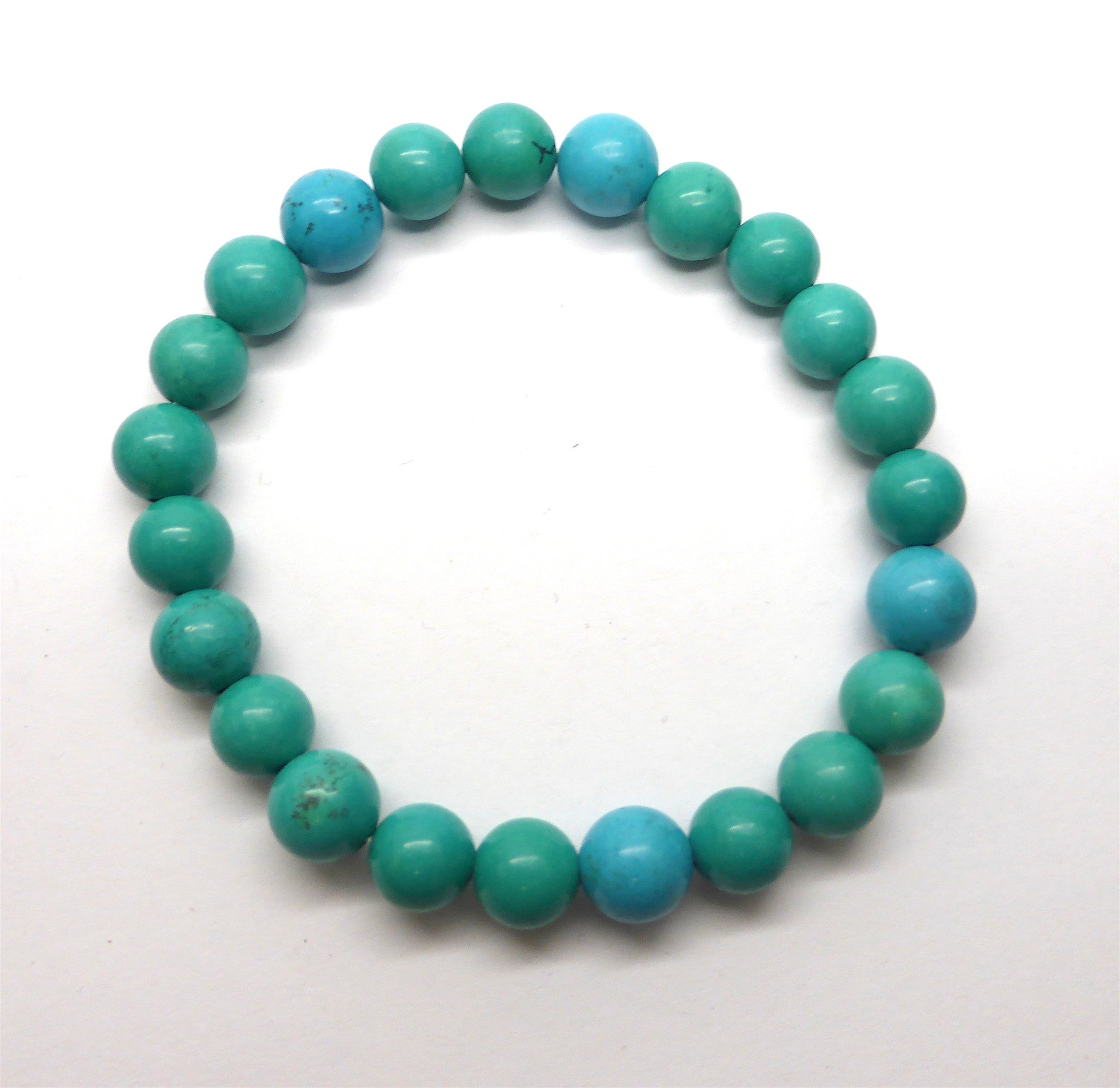 Turquoise Bead Stretch Bracelet | 8 mm beads Fair Trade Made in our own workshop | Crystal heart Melbourne Australia since 1986