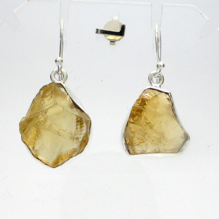 Citrine Earrings, Raw Nuggets, 925 Silver, ks1