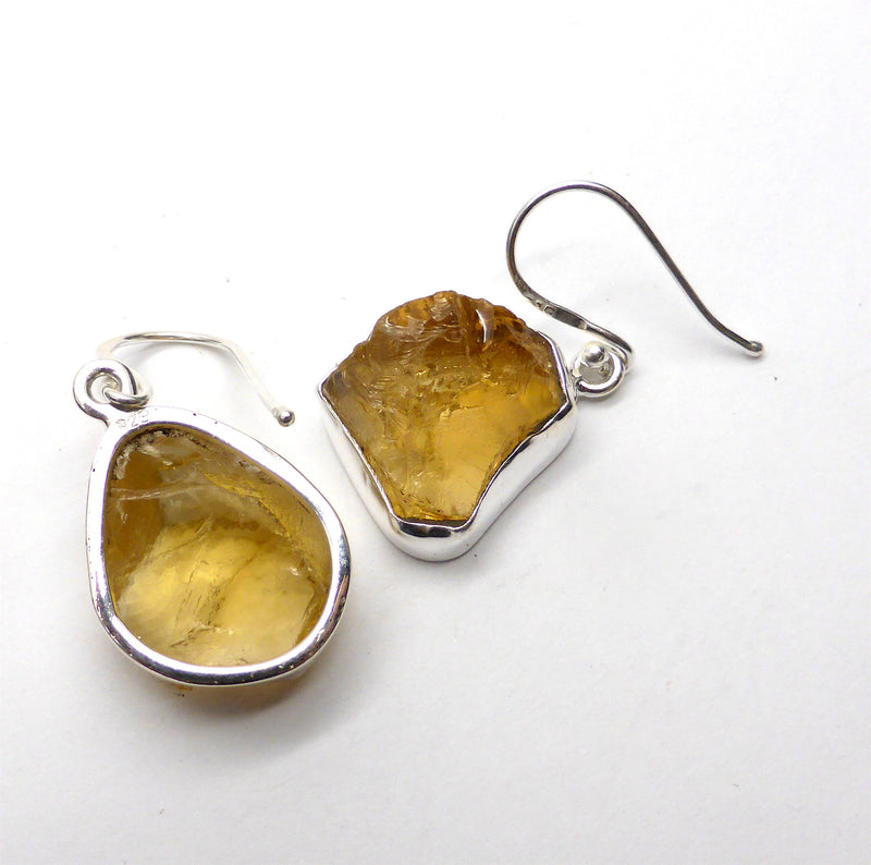 Citrine Nugget Earrings | 925 Sterling Silver | Rough Uncut stone | Leo | Prosperity | Positivity  | Crystal Heart Melbourne Australia since 1986