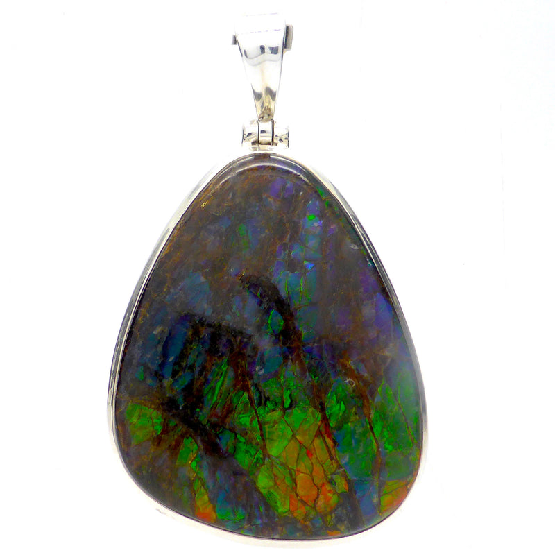 Ammolite Pendant Large Freeform Cab | 925 Sterling Silver | Opalised Fossil Ammonite | Canadian Gemstone | Crystal Heart Melbourne Australia since 1986