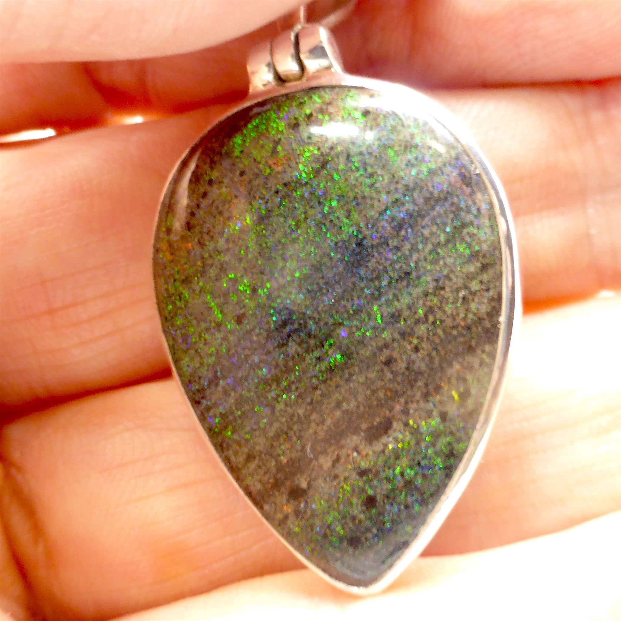 Teardrop Cabochon of Matrix Opal | Green Blue Purple Fire | 925 Sterling Silver | Crystal Heart Melbourne Australia since 1986