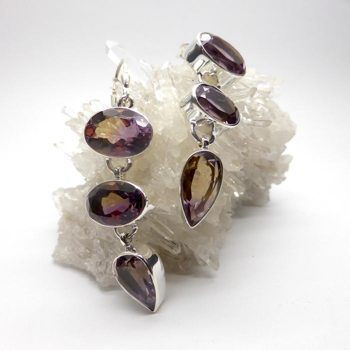 Ametrine Earring | Oval & Teardrop Faceted Stones | 3 dangle in line | Lever Hooks | 925 Sterling Silver | Libra Stone | Crystal Heart Melbourne Australia 1986