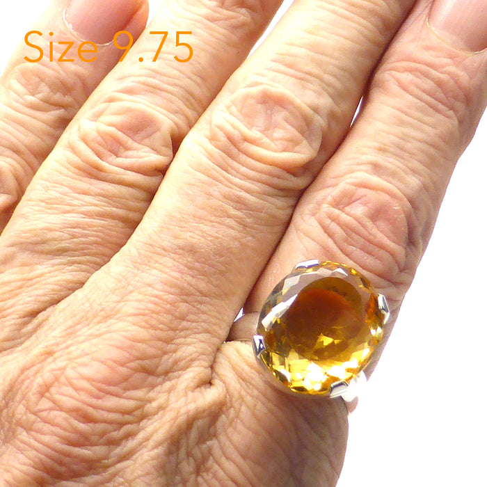 Ring Citrine Faceted Oval  | 925 Sterling Silver | US Size 9.75 | Abundance | Positivity | Aries Gemini Leo Libra | Crystal Heart Melbourne Australia  since 1986