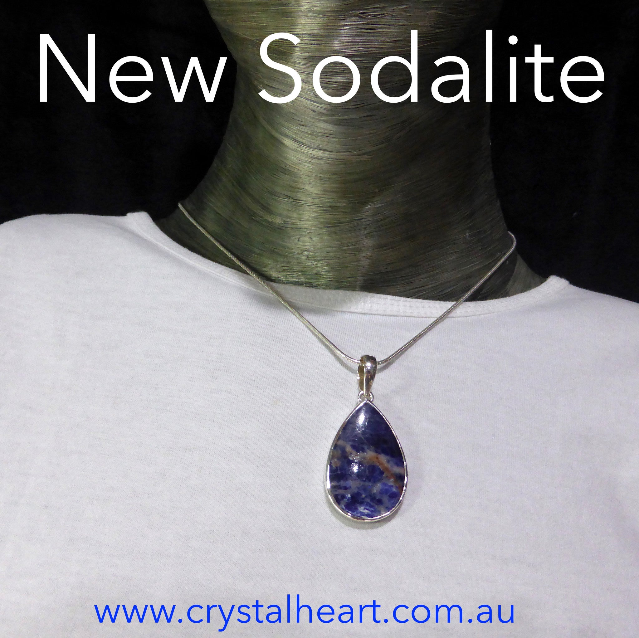 Sodalite Teardrop Pendant | 925 Sterling Silver | Translucent | Mental balance and enlightenment | Sagittarius | Crystal Heart Melbourne Australia since 1986