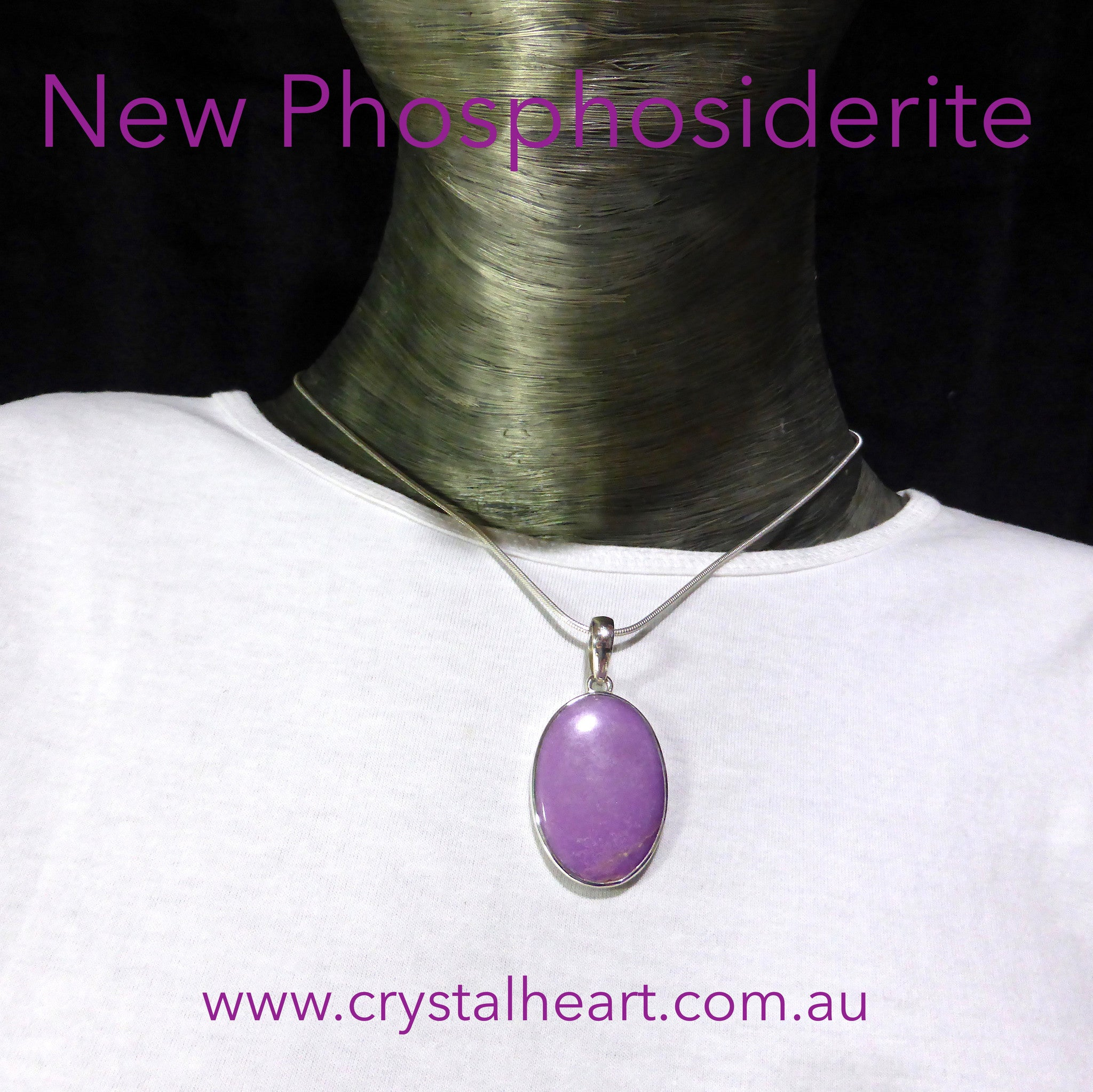 Phosphosiderite Pendant | Oval Cabochon | 925 Sterling Silver | Iron Phosphate | Higher Heart & 3rd Eye centre | Crystal Heart Melbourne Australia since 1986