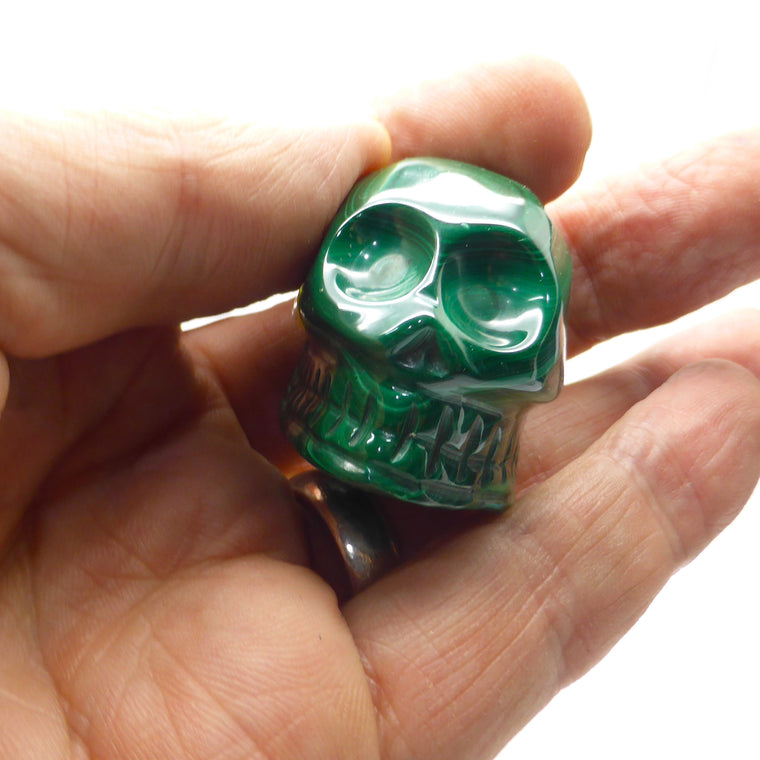 Skull, Hand Carved Malachite C2