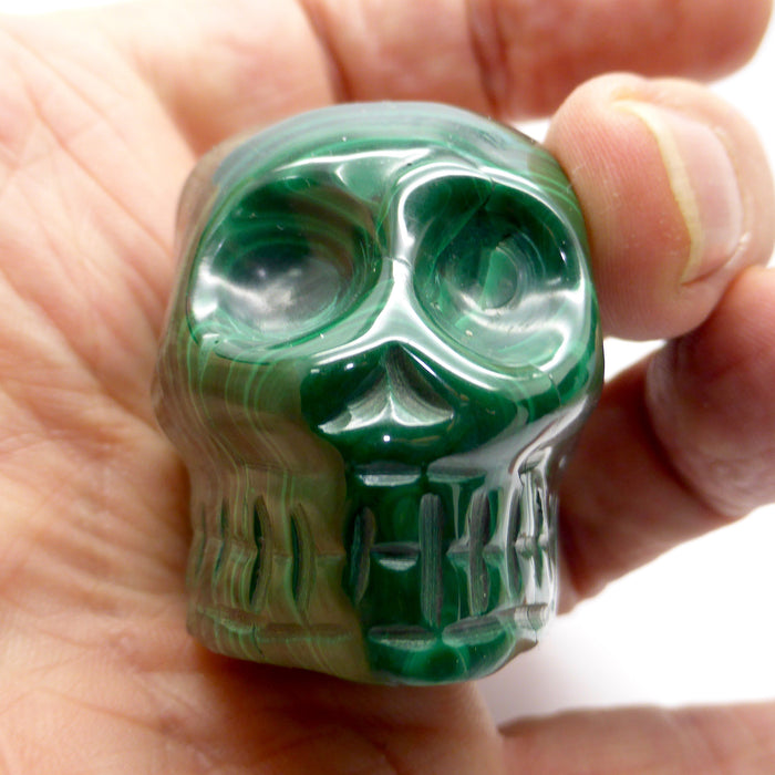 Skull, Hand Carved Malachite C3