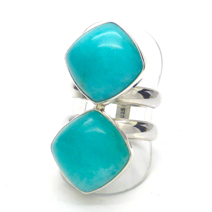 Amazonite Ring 2 Stones | 925 Sterling Silver | Virgo Stone | Blue Green Feldspar | Crystal Heart Melbourne Australia since 1986