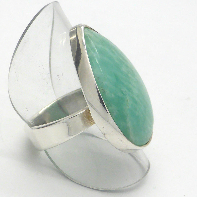 Amazonite Ring Teardrop Cabochon | 925 Sterling Silver | Virgo Stone | Blue Green Feldspar | Crystal Heart Melbourne Australia since 1986