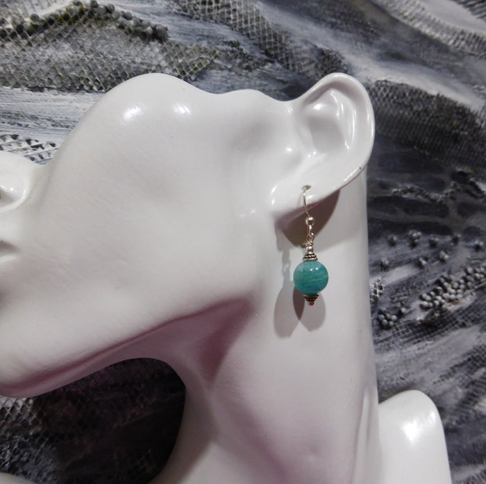 Amazonite Earring 10 mm bead | 925 Sterling Silver Findings | Virgo Stone | Blue Green Feldspar | Crystal Heart Melbourne Australia since 1986