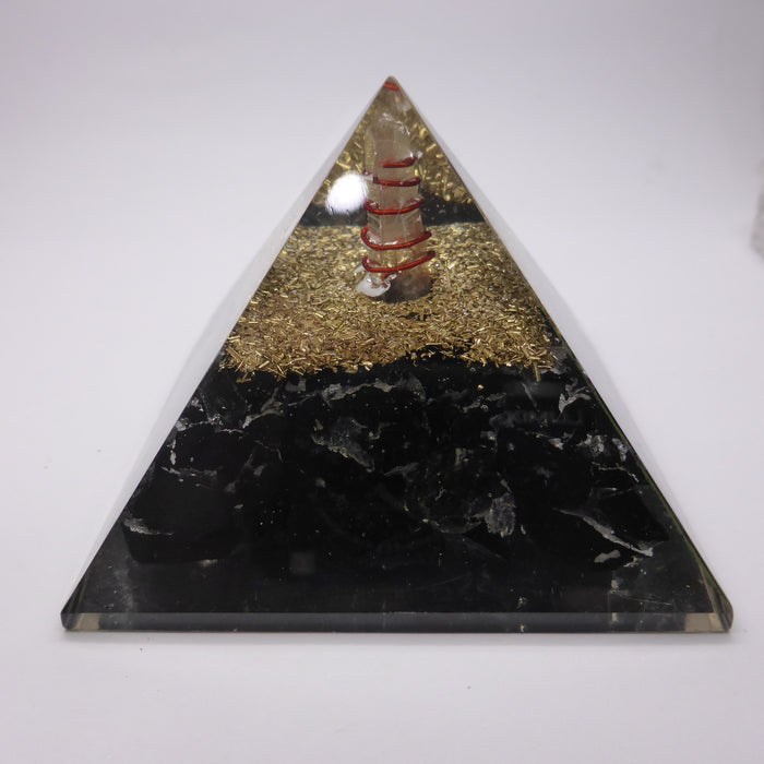 Orgone Pyramid Black Tourmaline | Clear Crystal Spiral conduit | Accumulate Orgone Energy | Clear Negativity | Crystal Heart Melbourne Australia since 1986