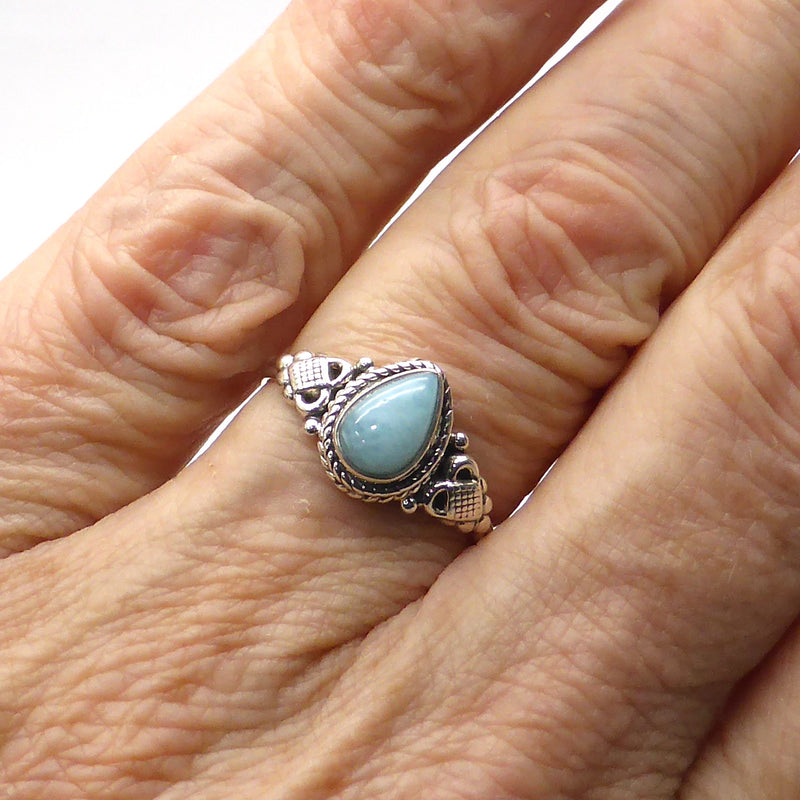Larimar Ring Teardrop Cabochon | 925 Sterling Silver | Genuine Dominican | Size 5, 8, 9 | Leo | Pectolite | Crystal Heart Melbourne Australia since 1986