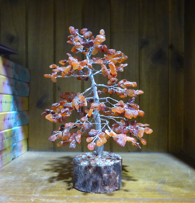 Carnelian Gem Tree | Silver Wire | Natural Wood Base with crystal chips | Drilled & wired not glued | Tree of Life | Crystal Heart Australia since 1986