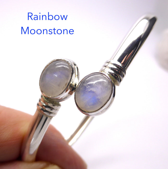 Bracelet Rainbow Moonstone Cabochon | Flexible 925 Sterling Silver | Classic look | Comfortable, easy to put on | Crystal Heart Melbourne Australia since 1986