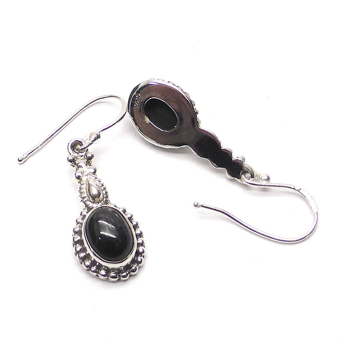 Black Star Sapphire Gemstone Earrings | Oval Cabochon | 925 Sterling Silver | Ethnic Detail | Crystal Heart Melbourne Australia since 1986