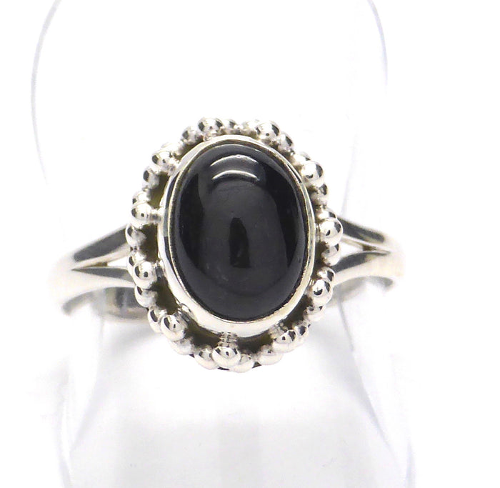 Black Star Sapphire Ring | 925 Sterling Silver | Star of India | True name Diopside | 4 point Star | Lovely small ring | Size 5,6,7,8,9,10 | Crystal Heart Melbourne Australia since 1986