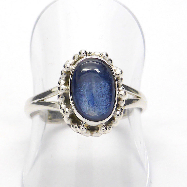Blue Kyanite Ring Oval Cabochon, 925 Silver, KS