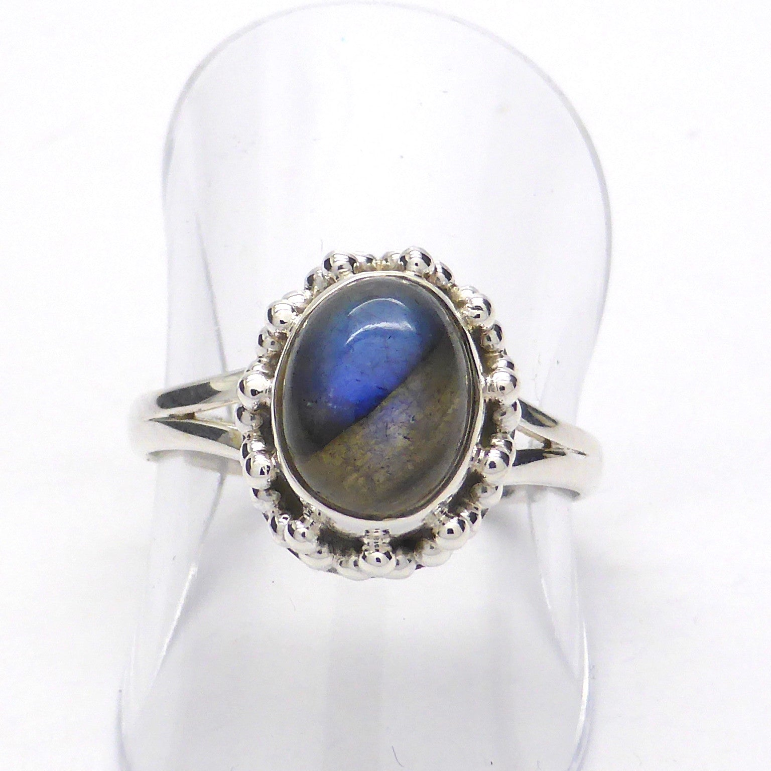 Ring Labradorite | Oval Cabochon | Detailed 925 Sterling Silver | Smaller Style | Size 5,6,7,8,9,10 | Crystal Heart Melbourne Australia since 1986