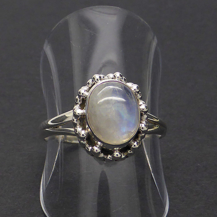 Moonstone Ring, Oval Cabochon, 925 Silver ks