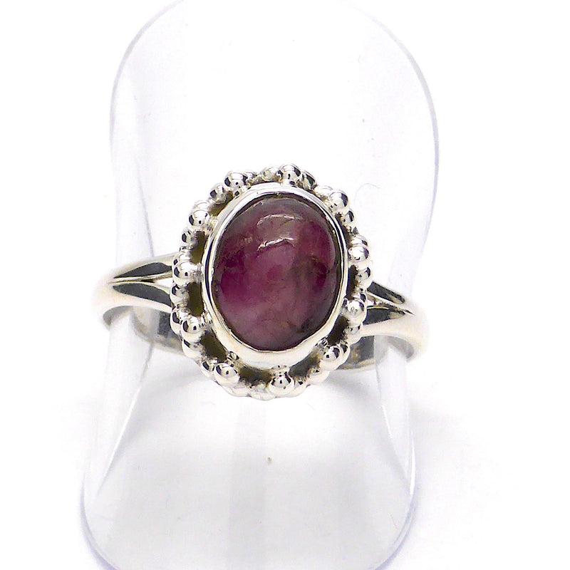Pink Tourmaline ( Rubellite )  |  | Oval Cabochon | Detailed 925 Sterling Silver | Smaller Style | Size 5,6,7,8,9,10 | Crystal Heart Melbourne Australia since 1986