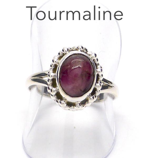 Tourmaline Ring, Pink Cabochon Oval, 925 Silver KS