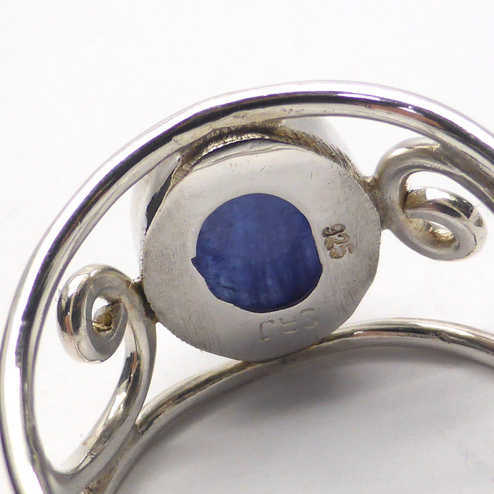 Designer Ring | Genuine Tanzanite | Large Oval Cabochon | 925 Sterling Silver | Wide Shank with Silver Curls | Size 7,8,9,10 | Crystal Heart Melbourne 1986