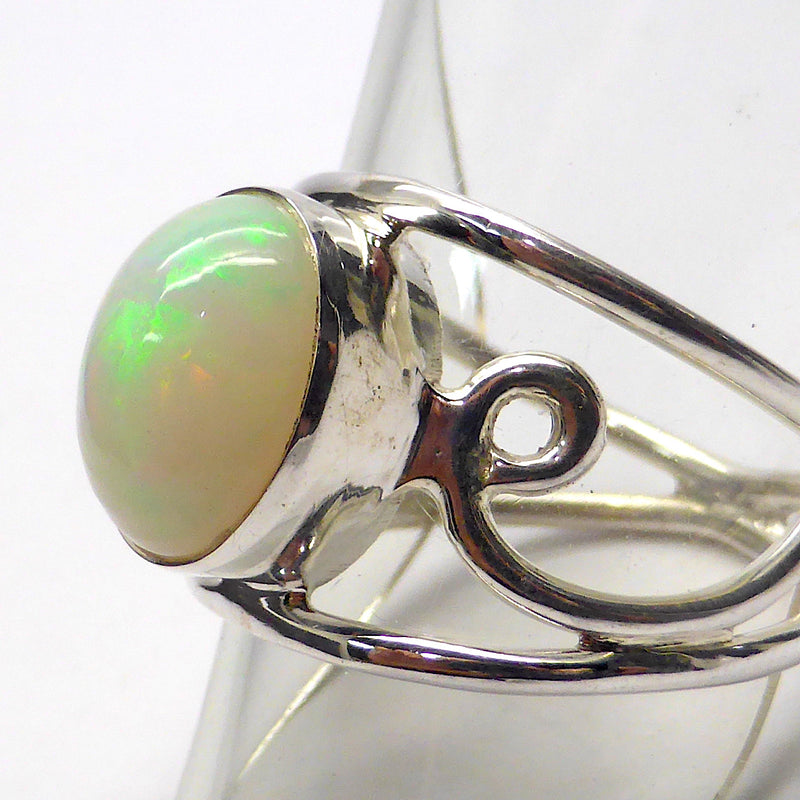 Designer Ring | Genuine Ethiopian Solid Opal | Large Oval Cabochon | 925 Silver | Wide Shank with Silver Curls | Size 9,10 | Crystal Heart Melbourne 1986