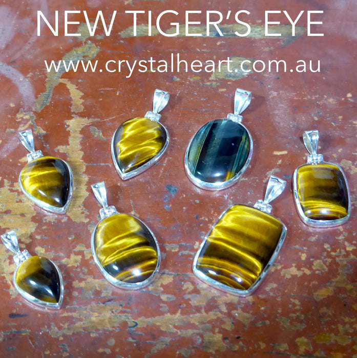 Genuine Blue Tiger's Eye Pendant | Hawk's Eye | Oval Cabochon | 925 Sterling Silver | Mental & Emotional focus | Capricorn Gemini | Crystal Heart Australia since 1986