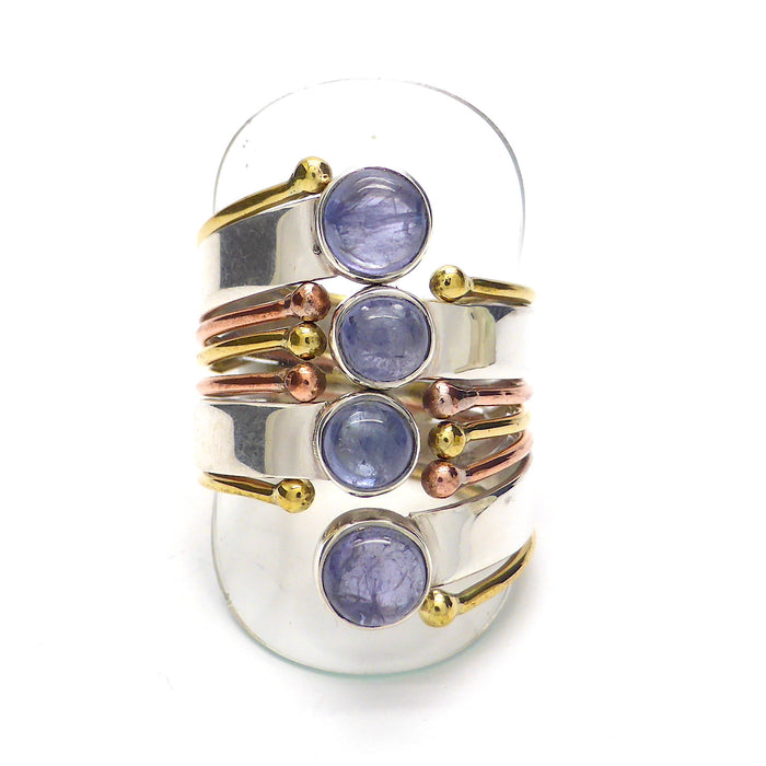 Ring with genuine Tanzanite Cabochons | Wrap around Designer style | 925 Sterling Silver with gold accents | Size 10| Crystal Heart Melbourne Australia since 1986