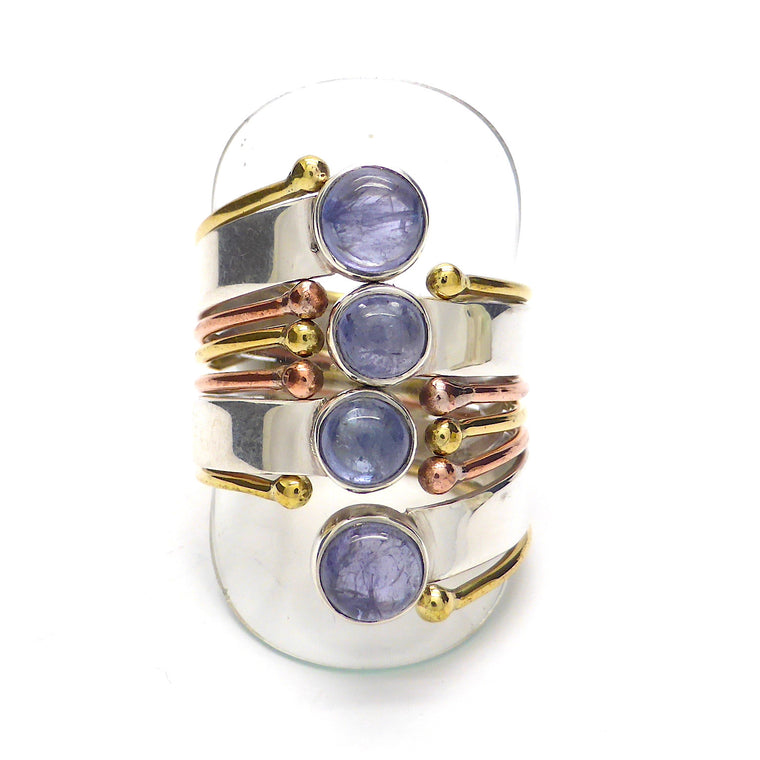 Tanzanite Ring, 925 Silver & Gold, gd4