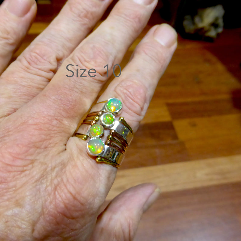 Ring with 4 genuine Ethiopian Opals | Wrap around Designer style | 925 Sterling Silver with gold accents | Size 8 & 10| Crystal Heart Melbourne Australia 1986