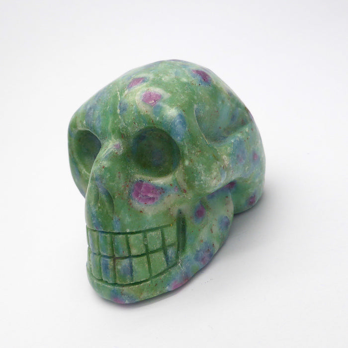 Ruby Fuschite Skull |  Hand Carved Gemstone | deeper spiritual meanings | Tonic for Emotional & Physical Heart | Crystal Heart Melbourne Australia since 1986