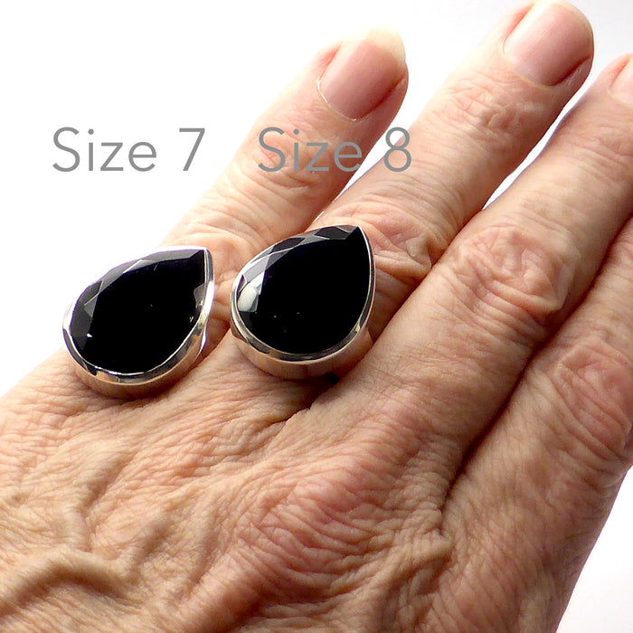 Genuine Black Onyx Faceted Teardrop Ring | Checkerboard Cut | 925 Sterling Silver | US Size 7 & 8 | Wisdom Protection Empowerment | Crystal Heart Melbourne Australia 1986