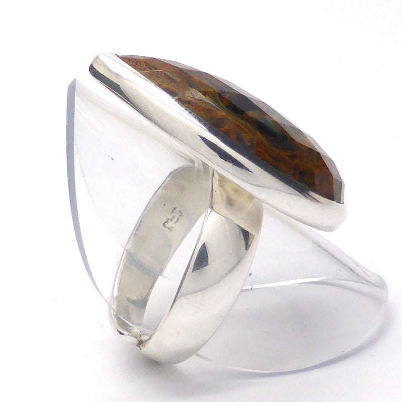 Ring  Pietersite | Faceted Teardrop | 925 Silver | Ochre Swirls | strength flexibility creativity determination | Crystal Heart Melbourne Australia since 1986