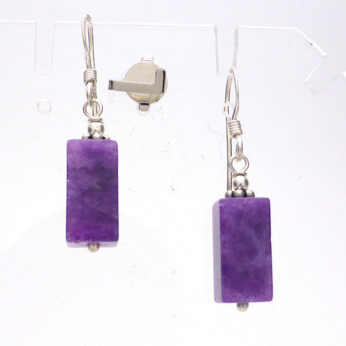 Earring Charoite | 925 Sterling Silver | Genuine Russian Charoite | Unique Crystal Heart Creations | Melbourne Australia since 1986