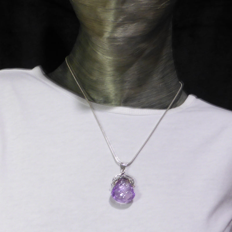 Pendant Amethyst Buddha | Genuine Stone | 925 Silver | Hand Carved Happy Buddha | Pisces Virgo Aquarius Capricorn | Crystal Heart Melbourne Australia since 1986