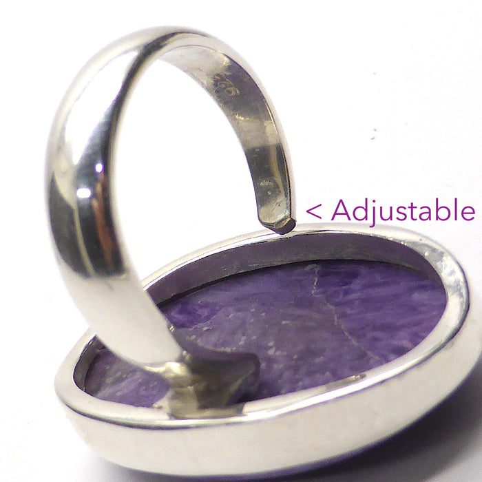 Charoite Ring Oval Cabochon | 925 Sterling silver | Adjustable Size 7,8,9 | Awaken Spiritual Powers | Courage on the Path | Australian Supplier since 1986