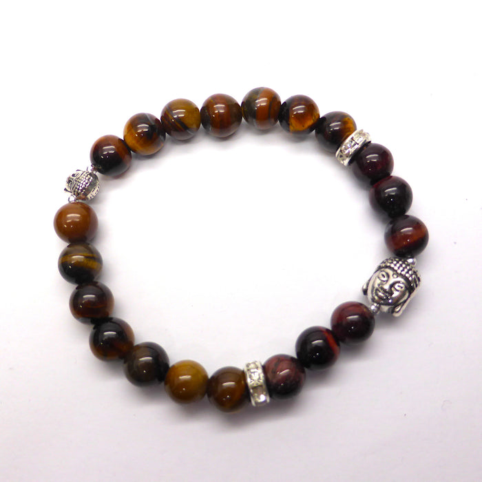Stretch Bracelet | Red & Tawny Tiger Eye Beads |  Silver color Buddha Heads & spacers with CZs | Beads 8.5 mm | Crystal Heart Melbourne Australia since 1986