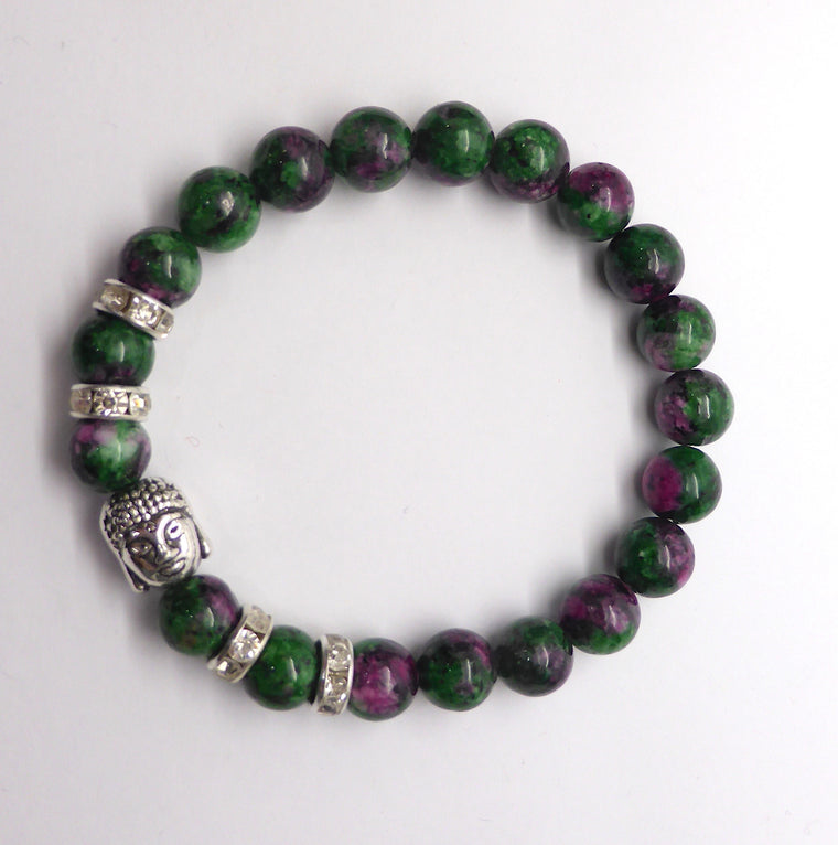 Ruby in Zoisite (Anyolite) Bead Bracelet with Buddha Charm
