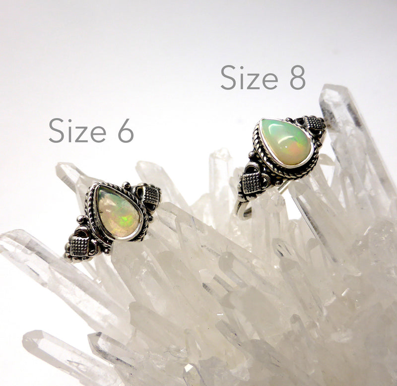 Genuine Ethiopian Opal Ring | Small Tear Drop Stone | 925 Silver | Size 6 and 8 | Crystal Heart Australia since 1986