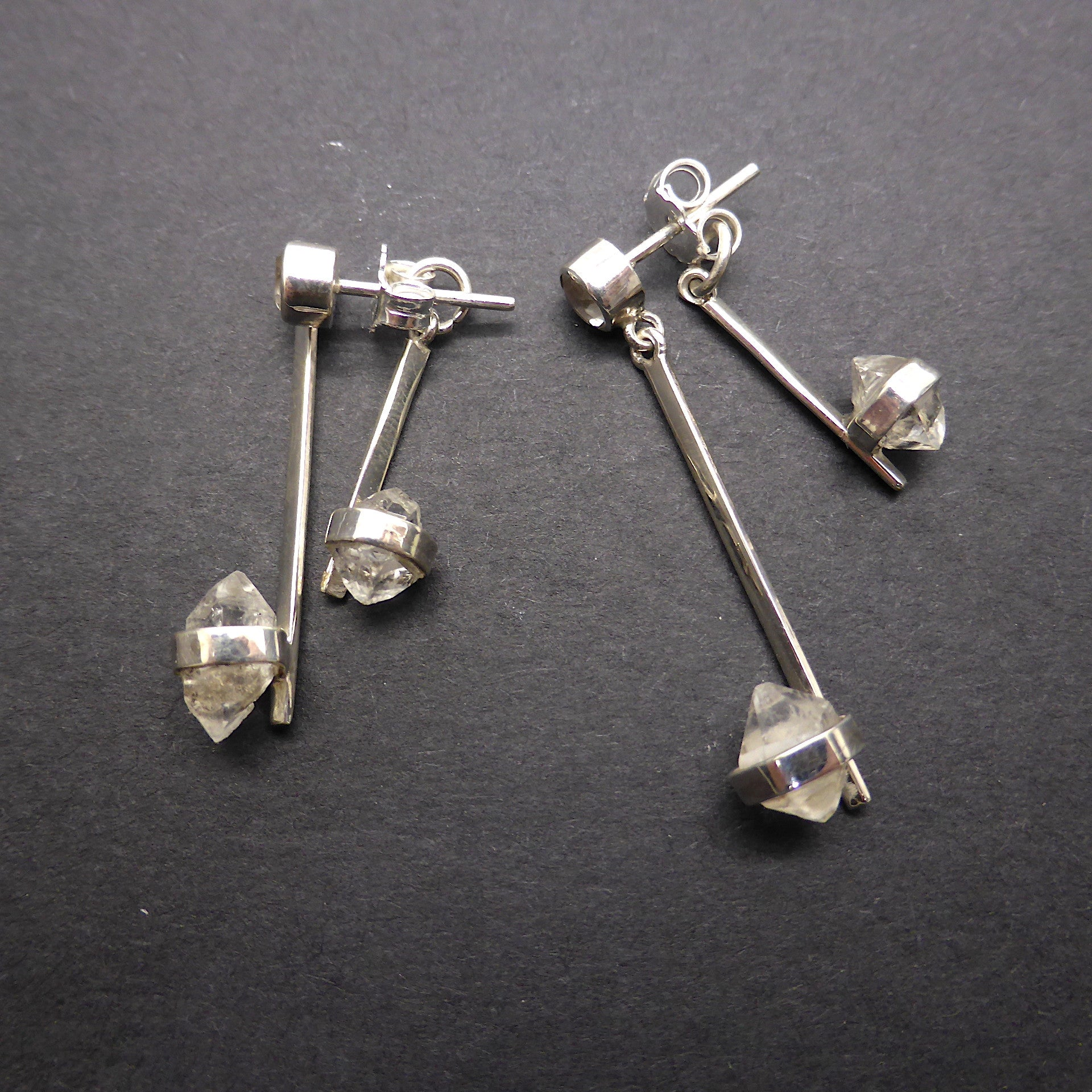 Stud Earrings | 925 Silver | Double Herkimer Diamonds Swing either side of Ear | Clear Topaz Accent | Crystal Heart Melbourne Australia since 1986