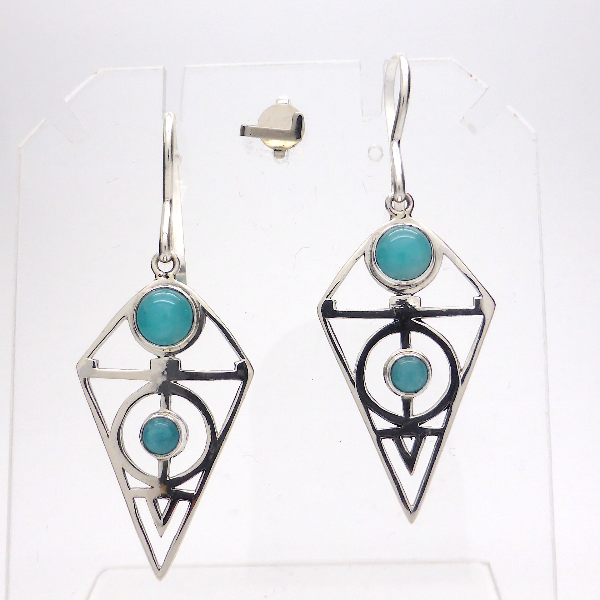 Amazonite Earrings | 2 round Cabs | 925 Sterling Silver Sacred Geometry Setting | Blue Green Feldspar | Crystal Heart Melbourne Australia since 1986