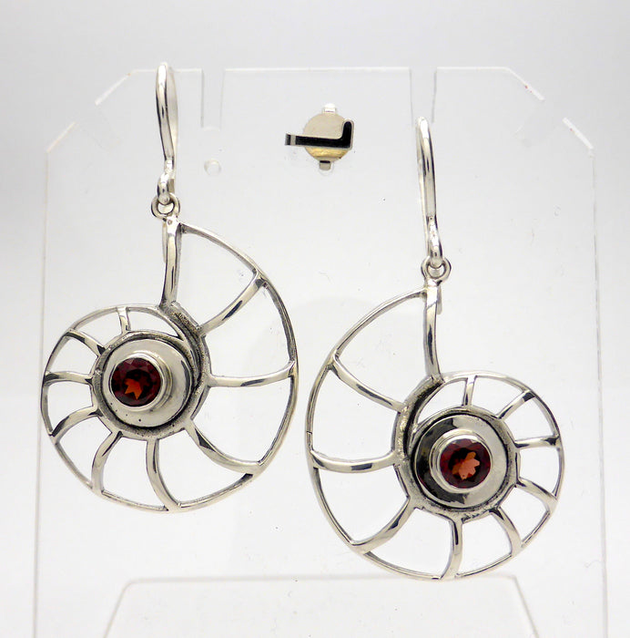 Earring Garnet Shell | 925 Sterling Silver | Silver Ribs outline Nautilus Shell |  Crystal Heart Melbourne Australia since 1986