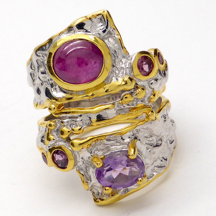 Ruby Ring with Amethyst & Rhodolite | Silver and Gold