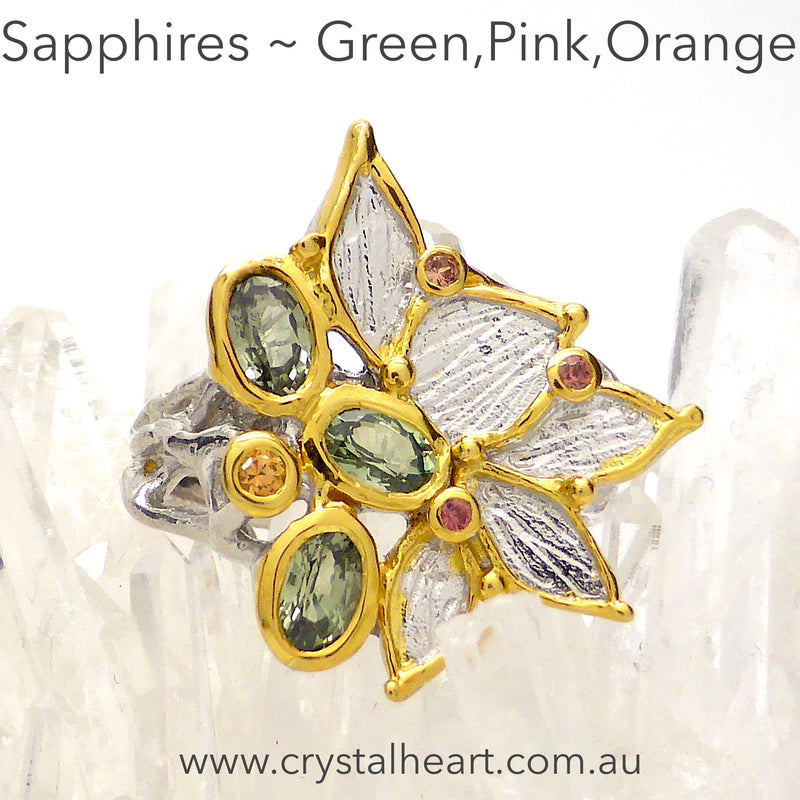 Ring Faceted Sapphires ~ Green, Pink, Orange | Seven lovely genuine stones | 925 Silver with Gold Highlights | Crystal Heart Melbourne 1986