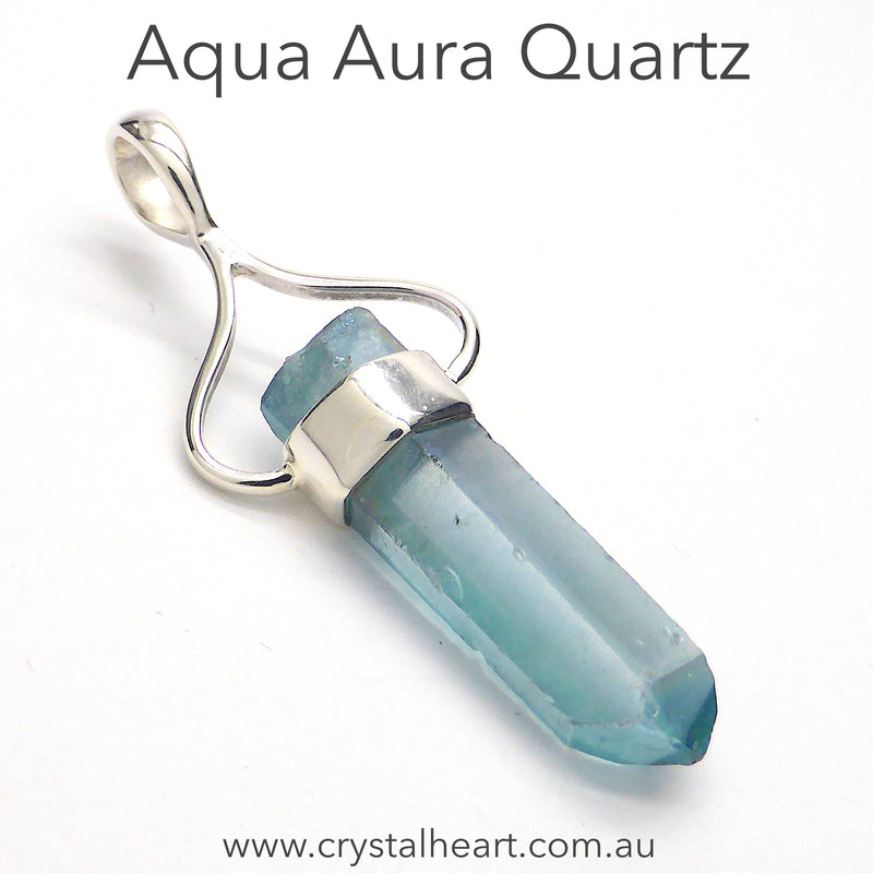 Aqua Aura Pendant | Raw Uncut Quartz Crystal | 925 Sterling Silver | Clear Quartz & Gold | Alchemical Marriage Male & Female | Spiritual Uplift | Creative Expression | Crystal Heart Melbourne Australia since 1986