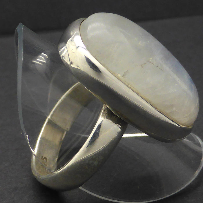Ring Rainbow Moonstone | Free form Oblong | 925 Silver | Classic Sturdy Setting | US Size 7 | Star Stone Cancer Libra Scorpio | Crystal Heart Melbourne Australia since 1986